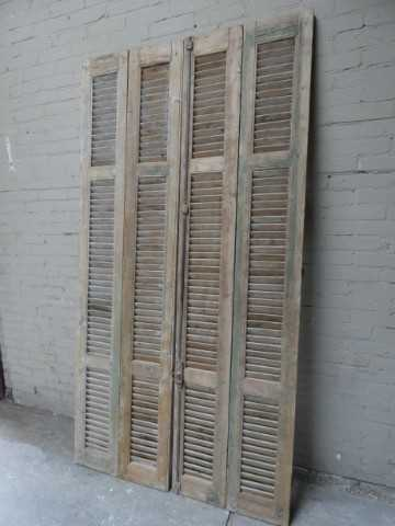 Antique grey set of louvre shutters / doors-4