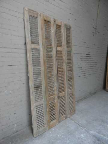 Antique grey set of louvre shutters / doors-5