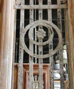 Antieke Franse deur met smeedijzeren hekwerk 247x100 cm-3