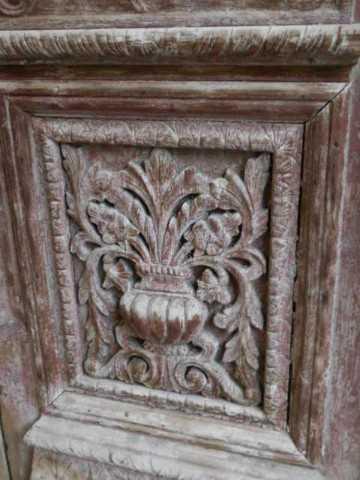 Antieke bewerkte Franse deuren in kozijn-3