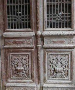 Antieke bewerkte Franse deuren in kozijn-4