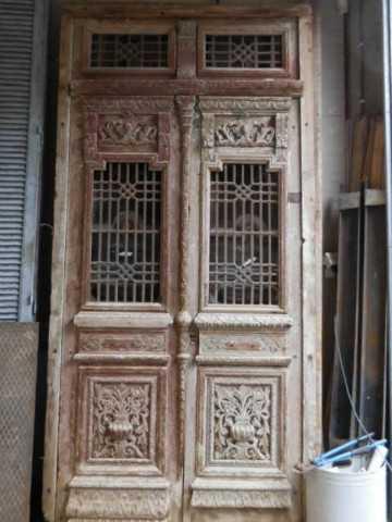 Antieke bewerkte Franse deuren in kozijn-5