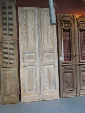Antieke grenen dubbele paneel deuren-2