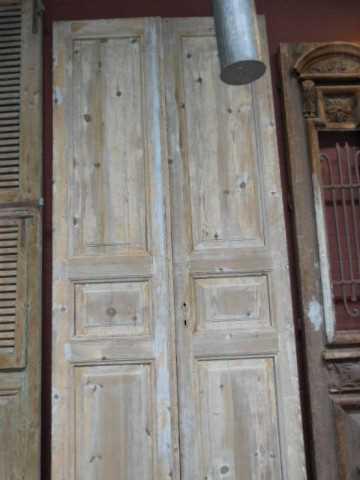 Antieke grenen dubbele paneel deuren-3