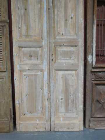 Antieke grenen dubbele paneel deuren-4