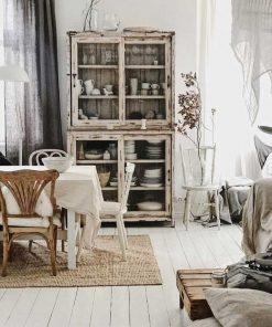 Vintage witte opgeschuurde vitrine kast-1