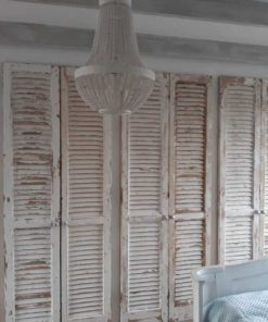 Fitted wardrobe in bedroom of antique louvre blinds / shutters-2
