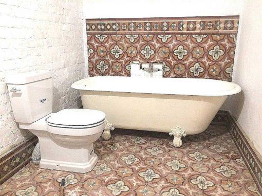 Antique motif tiles in bathroom-1