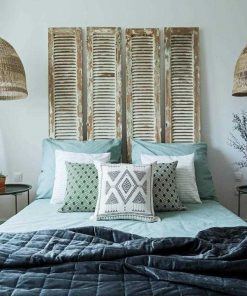 Antique shutters as headboard-1