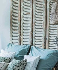 Antique shutters as bed wallboard-2