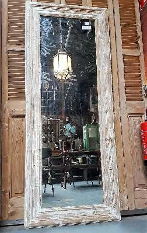 Houten spiegel met whitewash frame 200x80 cm-1