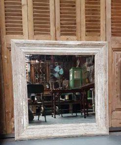 Vierkanten spiegel met whitewash houten lijst 100x100 cm-1