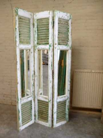 Vintage kamerscherm van luiken met spiegels-1