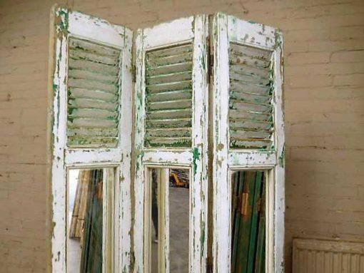 Vintage kamerscherm van luiken met spiegels-2