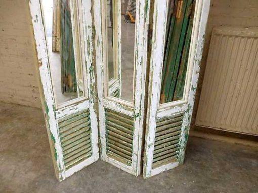 Vintage kamerscherm van luiken met spiegels-3