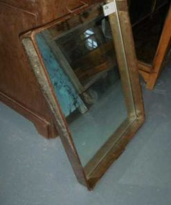 Vintage zinc tray / bread basket with mirror-1