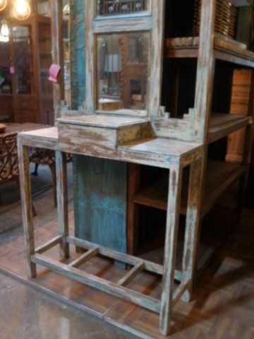 Antieke kaptafel / hal kast met spiegel-2