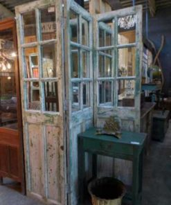 Antique teak room divider with mirrors-1