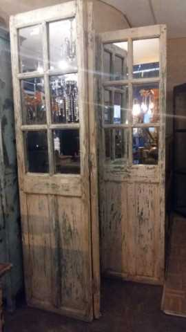 Antique teak room divider with mirrors-3