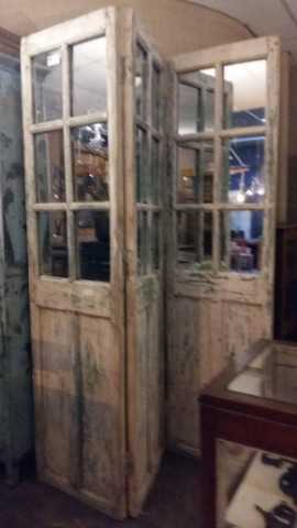 Antique teak room divider with mirrors-4