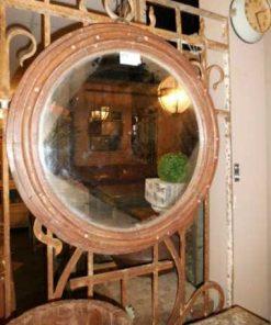 Antieke ronde spiegel met houten frame-1