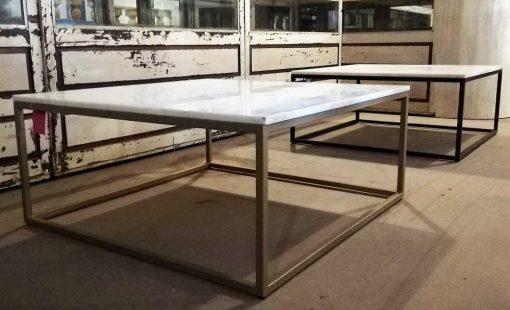 Vierkanten salon tafel met wit marmeren blad-1