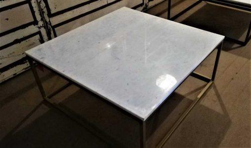 Vierkanten salon tafel met wit marmeren blad-2