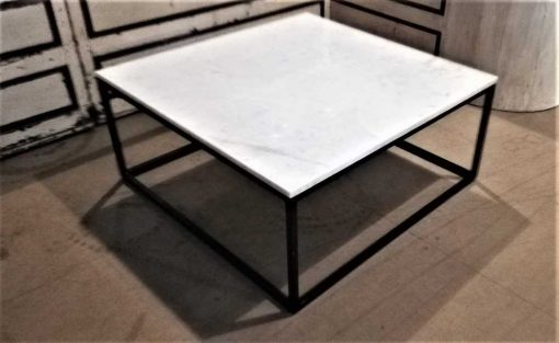 Vierkanten salon tafel met wit marmeren blad-3