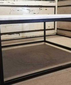 Vierkanten salon tafel met wit marmeren blad-4