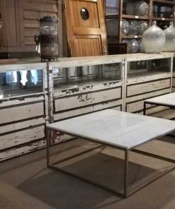 Vierkanten salon tafel met wit marmeren blad-5