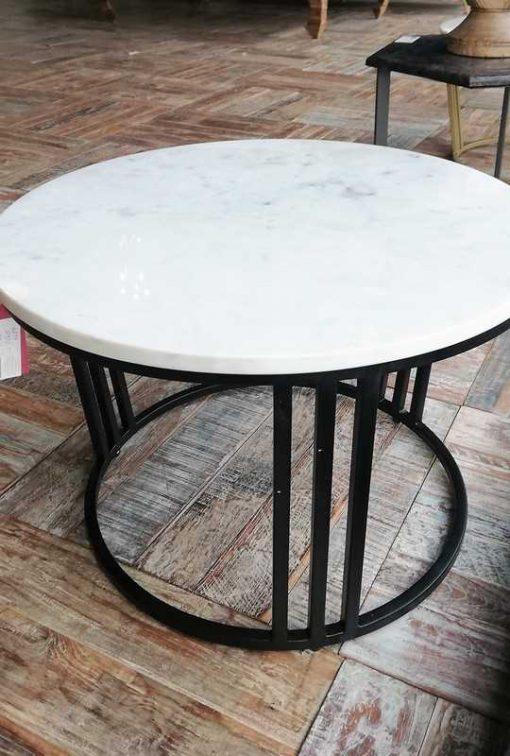 Ronde salon tafel met wit marmeren blad-1