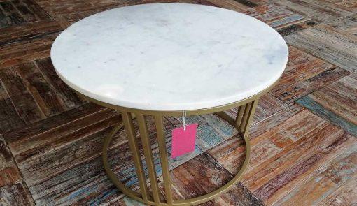 Ronde salon tafel met wit marmeren blad-2