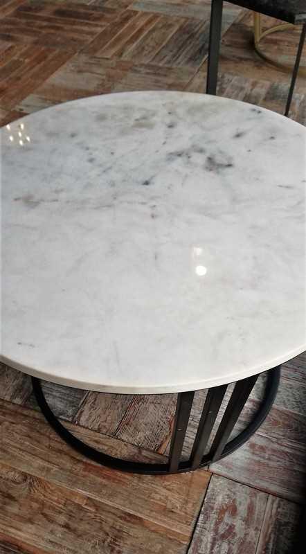 Ronde salon tafel met wit marmeren blad-3