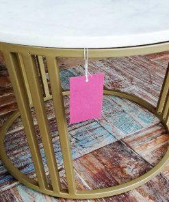 Ronde salon tafel met wit marmeren blad-4