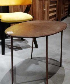 Vintage ovaal salon tafeltje met koperkleurig blad-1