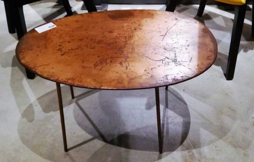 Vintage ovaal salon tafeltje met koperkleurig blad-3