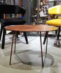 Vintage ovaal salon tafeltje met koperkleurig blad-4