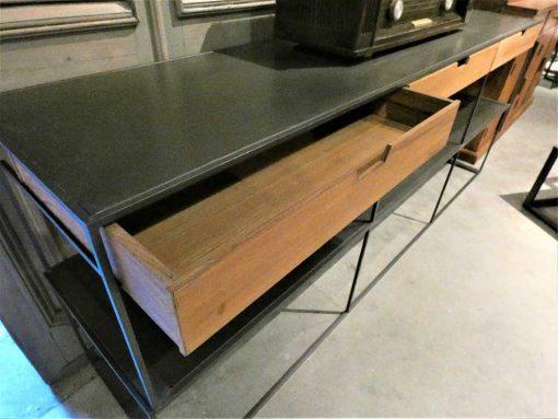 Beistelltisch mit Schubladen aus Metall und Holz-2