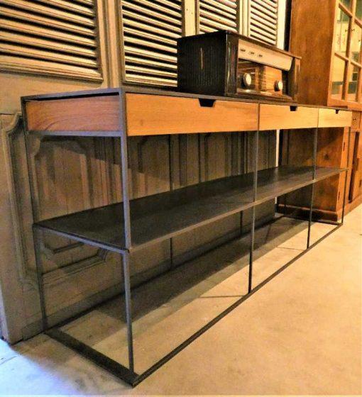 Beistelltisch mit Schubladen aus Metall und Holz-3