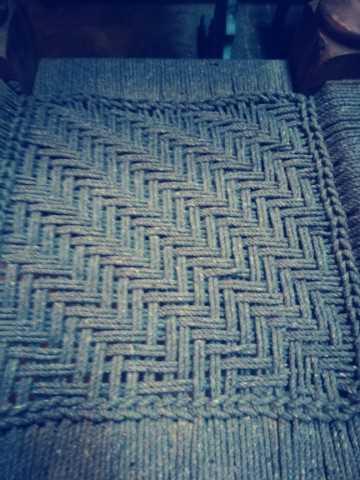 Vintage kruk / bijzettafel van hout met geweven touw-3