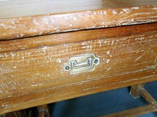 Massivholz Beistelltisch mit Schubladen-4