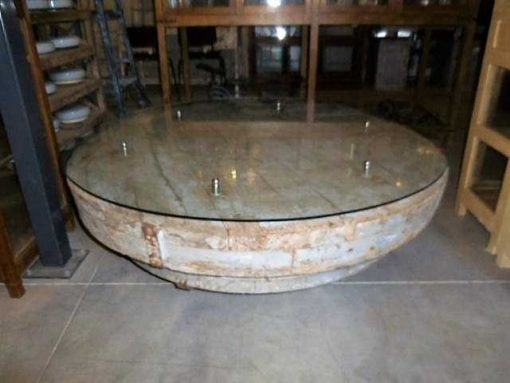 Industrial vintage round coffee table-1