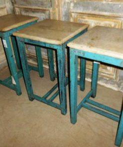 Vintage blauwe bijzettafel met marmeren blad-3