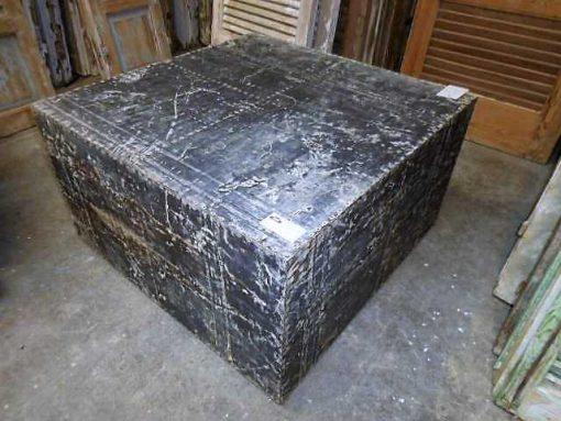 Industriele vierkanten salontafel bekleed met zinken platen-2