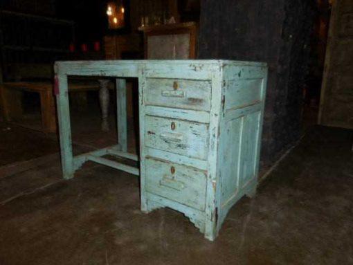 Antieke turquoise kinder bureau-1