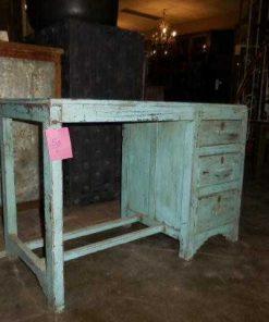 Antieke turquoise kinder bureau-3