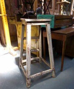 Vintage houten planten tafel / kruk-1