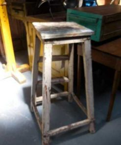 Vintage houten planten tafel / kruk-2
