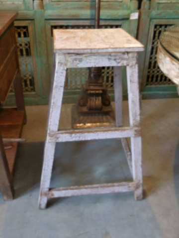 Vintage houten planten tafel / kruk-3