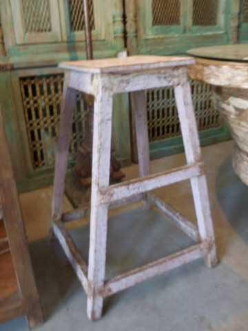 Vintage houten planten tafel / kruk-4